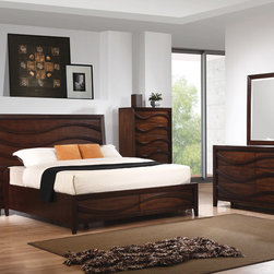 Coaster - Loncar 5Pc Queen Wave Bedroom set in Java Oak Finish - Discover a contemporary styling with the Loncar collection. Beautifully detailed wave carvings show off the contemporary styling of this beautiful bed. Matching piece fronts cleverly use the wave design as drawer pulls creating mystery and a timeless chic design. In addition, the bevelled mirror ads to the contemporary feel of this collection. Stand out from the crowd in a home that truly inspires.