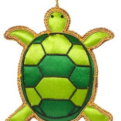 Sitara Collections - Handcrafted Beaded Evergreen Turtle Ornament - A Really Cute Turtle Made with Green Fabric and Black Beads for That Unusual Christmas Tree That Hosts the animal Kingdom this Year. this Handcrafted ornament is Crafted by artisans in india.