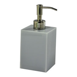 Mike+Ally - Ice Lotion Pump, Grey, Silver Pump - The Mike + Ally Ice Bath Collection is made from thick and sturdy Lucite. The Lucite pump, available in a variety of colors, is a clean and modern way to store lotion or liquid soap.