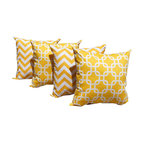 Land of Pillows - Zig Zag Chevron Yellow and Gotcha Corn Yellow Indoor Throw Pillows - Set Of 4, 1 - Yellow Pillow Set - Gotcha & Chevron Zig Zag Yellow Pillow Set - Gotcha & Chevron Zig Zag