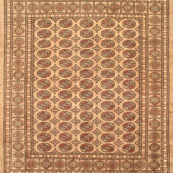 """Torabi Rugs - Hand-knotted Finest Peshawar Bokhara Pink Wool Rug 8'2"""" x 9'9"""" - The creme de la creme, high quality, high knot count (180-200 KPSI) Bokhara rugs woven in the Peshawar region by skilled artisan weavers. These stunning Bokhara rugs have small, repeating geometric designs using the elephant foot and octagonal gul motifs. These rugs usually come in greens, reds, whites, and browns. These intricate tribal rugs work well in many decor styles."""