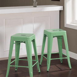 None - Tabouret 24-inch Hint of Mint Counter Stools (Set of 2) - Highlighting a durable steel construction,the Tabouret 24-inch Counter Stools set offers a striking Hint of Mint color. This set of two counter-height stools is fully assembled,stackable,and scratch and mar resistant.
