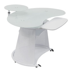 Calico Designs - Computer Desk in White - Main Work Surface: 45.75  In. W X 25.25  In. DMonitor Shelf: 15.75  In.  In Diameter24  In. W X 10.5  In. D Adjustable Keyboard ShelfMiddle Shelf: 21.25  In. W X 15.75  In. DBottom Shelf: 28.5  In. W X 18.5  In. DUnique Contemporary DesignTempered Safety Glass Top And Monitor ShelfTop, Monitor Shelf And Keyboard Shelf Rotate Independently Around A Central Hub. 45.75 in. W x 42.5 in. D x 33.75 in. H (77 lbs) The stylish Neptune Computer Desk by Calico Designs features a cool, technology-driven design adaptable to a variety of environments and highlighted by its sturdy powder-coated steel frame and tempered white glass. The top, monitor shelf and keyboard shelf rotate independently around a central hub which help keep the main work surface clear while the Mechanically adjustable swivel arm shelf lets you set your flat-panel monitor at the most ergonomic and comfortable position that frees up valuable desk space. The bottom shelf can accommodate a CPU or printer. Its space-saving functionality makes it an ideal fit for any home or office!