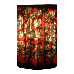 "funyhed BATIK - Batik Lamp ""Red Stones"" - This unique designer batik lamp is made of my one of a kind handmade batik fabric. Rich golden yellows, browns, and hints of orange create a warm and soothing atmosphere. The diffused light shines beautifully through the batik fabric emphasizing every line and wax crackle."