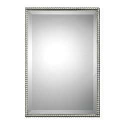 "Carolyn Kinder - Carolyn Kinder Sherise Rectangle Mirror X-31110 - Brushed nickel, metal frame features a decorative beading design. Mirror features a generous 1 1/4"" bevel. May be hung either horizontal or vertical."