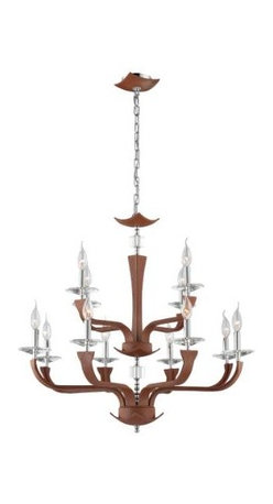 Eurofase - Eurofase 22807-021 Pella 12 Light Chandelier in Chrome with Brown Shade 22807-02 - Clean elegance, distinctive graining of the leather and hand stitching are seen in the Pella collection. Highlighted with crystal accent and bobeches add sparkle to the fixture.Crystal cut accents Uses 12 60-watt candelabra base bulbs (not included) UL listed for safetyBulb Base: Candelabra Bulb Type: Incandescent Chain Cord Length: 180 Collection: Pella Country of Origin: CN Diameter: 31-1 2 Finish: Chrome Height: 27-3 4 Kit: No Number of Lights: 12 Shade Finish: Brown Type: Non Crystal Chandeliers Voltage: 120 Wattage: 60
