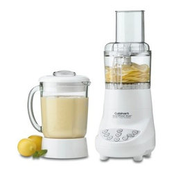 Cuisinart BFP-703 SmartPower Duet Blender/Food Processor - This powerful versatile Cuisinart BFP-703 SmartPower Duet Blender/Food Processor blends purees chops mixes and liquefies at the touch of a button. And its 7-speed motor is so powerful it crushes ice instantly. With touchpad controls for food processing and ice crushing this easy-wipe plastic blender has dishwasher safe parts including a 40 oz. glass jar with a dripless-pour spout stainless steel chopping blade and reversible slicing and shredding disc.Limited 3-year warrantyDimensions: 6.88L x 8W x 16.25H inchesAbout CuisinartOne of the most recognized names in cookware and kitchen products Cuisinart first became popular when introduced to the public by culinary experts Julia Child and James Beard. In 1973 the Cuisinart food processor revolutionized the way we create fine food and healthy dishes and since that time Cuisinart has continued its path of innovation. Under management by the Conair Corporation since 1989 Cuisinart is a universally celebrated name in kitchens across the globe. With a full-service product line including bakeware blenders coffeemakers cookware countertop appliances kitchen tools and much much more Cuisinart products are preferred by chefs and loved by consumers for durability ease of use superior quality and style.