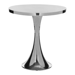 Safavieh - Galium Aluminum Side Table - An updated iteration of the classic Saarinen table, the Galium table�s hour glass base looks fresh and new in a polished aluminum finish. The sleek Galium side table will add the perfect contemporary touch to modern interiors, and can be used indoors or out to hold lamps, plants or an artful display.