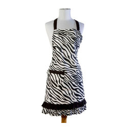 Sin in Linen - Zebra Apron - Go wild in the kitchen with these black and white zebra print kitchen linens!