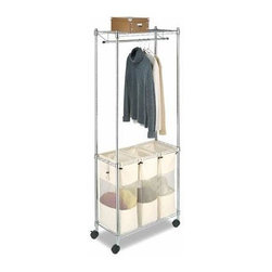 Whitmor - Supreme Laundry Center - Whitmor's 60584320BB Supreme Rolling Garment Rack with Shelves features a durable chromed steel frame extra strong wire shelves and a chromed steel hanging bar. Two of the four heavy duty wheels feature a locking option for solid placement. It is easy to assemble with no tools needed and as a part of Whitmor's Supreme Chrome Collection comes with a 10 year warranty. This rolling garment rack is perfect for attic garage kitchen office bathroom laundry room or anywhere you may need extra storage with a portability feature.
