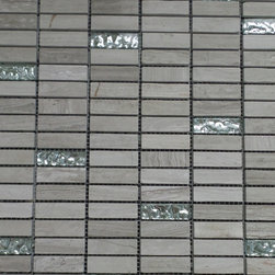 """GL Stone - Wooden Marble Brick With Silver Background Glass Mosaic Tile 12""""X12"""", 1 Carton - 1 in. x 3 in. Wooden grey Bricks Pattern Marble Mosaic Tile is a great way to enhance your interior decor. This brick mosaic tile is constructed from durable, impervious marble material, comes in polished and is suitable for installation on floors, walls and in commercial and residential spaces such as bathrooms and kitchens."""