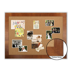 "Corkboard - 44"" x 32"" Framed Cork Board, Chelsea Honey - Dimensions include frame."