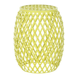 Safavieh - Safavieh Evan Iron Strips Stool, Matte Yellow - Industrial chic meets the pop coloration of Andy Warhol in the Evan iron strips stool. Thick iron strips are welded together in a bold, classic diamond pattern that boasts a bright neon yellow hue. This contemporary accent piece stands on its own as a focal point in any room.