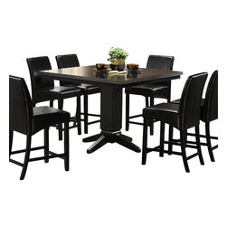 Homelegance - Homelegance Papario 5-Piece Counter Dining Room Set in Black - The need for flexibility is fulfilled with the Papyri collection. With multiple configuration possibilities, the black finished counter height nook set provides the style and function your space needs. Made of select hardwoods and veneers, covered in black bi-cast vinyl.