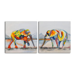 None - Hand-painted 'Harlequin of the Herd' 2-piece Canvas Set - Title: Harlequin of the HerdProduct type: Canvas ArtStyle: Contemporary