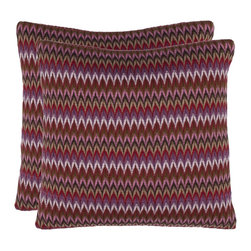 Safavieh - Safavieh Ava Pillow (2) X-2TES-8181-A178LIP - Soft as a cashmere sweater, the knitted texture of this 100% polyester pillow lends an air of casual sophistication to any room. The multi-color stripe, in tones dominated by raspberry, works with a range of fabrics and patterns.