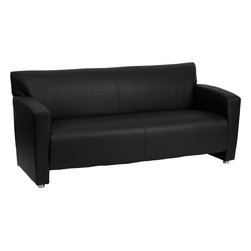 Flash Furniture - Flash Furniture Hercules Majesty Series Black Leather Sofa - 222-3-BK-GG - Having the right office waiting room furniture is essential for companies wanting to send the proper message to both clients and employees. Not only will this sofa fit in a professional environment, but will add a chic look to your living room space. This leather chair will get the message sent properly with its uncomplicated yet attractive design to fit in a multitude of environments. [222-3-BK-GG]