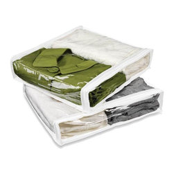 Honey Can Do - White Storage Bags - Pack of 2 - Clear vinyl. Easy viewing. Durable storage. Protects garments from dust & moths. Fits neatly in small spaces. Store in closet or under the bed. 15.5 in. L x 13.5 in. W x 3 in. H (0.35 lbs.)Honey-Can-Do SFT-01245 Zippered Storage Bag 2-Pk, White. A handy 2-pack of zippered vinyl storage bags will protect all of your fine clothing, linens, and other items from dust, moisture, and potential irritants. Clear vinyl top and sides allow quick identification of contents while white polyester back matches beautifully with the rest of the collection. Store items neatly under the bed, in the closet, attic, or garage with this versatile storage solution. Sensible size is perfect for traveling, storing off-season clothing, or keeping sets of guest linens fresh until needed.