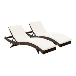 Modway Furniture - Modway Peer Chaise Set of 2 in Brown White - Chaise Set of 2 in Brown White belongs to Peer Collection by Modway Don't let moments of relaxation elude you. Peer is a serenely pleasant piece comprised of all-weather cushions and a rattan base. Perfect for use by pools and patio areas, chart the waters of your imagination as you recline either for a nap, good read, or simple breaths of fresh air. Moments of personal discovery await with this chaise lounge that has fold away legs for easy storage or stackability with other Peer lounges. Set Includes: Two - Peer Outdoor Wicker Chaise Chaise (2)