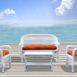 Fine Mod Imports - Portside White Outdoor Set with Orange Cushion - The set includes two chairs, a loveseat, a coffee table and cushions. It is made of all weather resistant wicker. This set comes complete with orange cushions.Features: