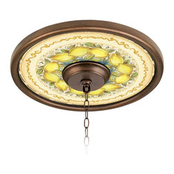 "Lamps Plus - Rustic - Lodge Summer Lemons 16"" Wide Bronze Finish Ceiling Medallion - The Summer Lemons giclee pattern ceiling medallion will give your ceiling fan or fixture a brand new identity. Its custom printed pattern on canvas is taken from an artisan hand-painted design. The giclee canvas is mounted on a 16"" wide Valencia Bronze finish medallion which is lightweight and installs easily to your ceiling with multi-purpose adhesive (not included). Polypropylene construction. Canopy and chain not included. Valencia Bronze finish. Summer Lemons pattern. Polypropylene construction. Giclee canvas. Lightweight and easy to install. Adhesive not included. 16"" wide. 4"" center opening.  Valencia Bronze finish.   Summer Lemons pattern.   Polypropylene construction.   Giclee canvas.   Lightweight and easy to install.   Adhesive not included.   16"" wide.   4"" center opening."
