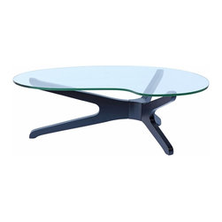 Lemoderno - Fine Mod Imports  Sculpt Coffee Table, Black - This table consists of 4 basic parts a beautiful glass top and 4 interlocking wood base pieces. This is very similar to other classic designs 15mm thick tempered glass Hardwood Base   Assembly Required