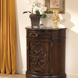 Signature Design by Ashley - Signature Designs by Ashley Norcastle Dark Brown Accent Cabinet - Ornate and traditional,the beautiful Norcastle accent cabinet from Ashley Furniture features beautiful hardwood construction with ornate filigree cabinet and drawer fronts. Finished in dark brown,this beautiful cabinet offers ample storage space.
