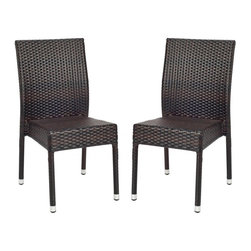 Safavieh - Newbury Wicker Chair - Relax and unwind. The New Castle Wicker Side Chair (sold in a set of two) is an update on classic wicker with new transitional style. Crafted with an aluminum frame in a tiger stripe pattern, it brings a bit of modern magic to warm summer nights.