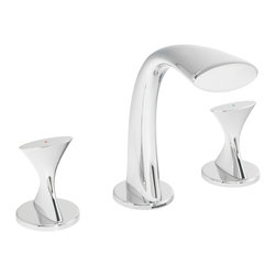 Speakman - Speakman Pearce 8 Inch Widespread Faucet in Polished Chrome - The futuristic renderings of the Pearce Widespread Bathroom Faucet utilize unique, bold designs only Speakman can design. The crisp, distinct handles, matched with the revolutionary curved spout, make the Pearce modern bathroom faucet a surrealistic addition to your bathroom's modern decor. Shaped and carved from durable, lead free brass, the Pearce Widespread Bathroom Faucet is constructed to be a trusted and everlasting luxury bathroom faucet. The Pearce widespread faucet disperses a WaterSense approved 1.5 gallons of water per minute while still maintaining Speakman's respected performance. The Pearce modern bathroom faucet is easy to install with proper tools, and is offered in a Polish Chrome or Brushed Nickel finish to effortlessly fuse to your current bathroom decor.