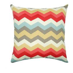 Land of Pillows - Waverly Sun N Shade Panama Wave Peachtini Chevron Outdoor Throw Pillow, 18x18 - Fabric Designer - Waverly