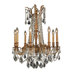 """Worldwide Lighting - Windsor 8-Light French Gold Finish and Crystal Chandelier 24"""" D x 30"""" H - This stunning 8-light Cast Aluminum Chandelier only uses the best quality material and workmanship ensuring a beautiful heirloom quality piece. Featuring a solid cast aluminum frame in antique bronze finish and all over clear crystal embellishments made of finely cut premium grade 30% full lead golden teak (translucent champagne color) crystals, this chandelier will give any room sparkle and glamour. Worldwide Lighting Corporation is a privately owned manufacturer of high quality crystal chandeliers, pendants, surface mounts, sconces and custom decorative lighting products for the residential, hospitality and commercial building markets. Our high quality crystals meet all standards of perfection, possessing lead oxide of 30% that is above industry standards and can be seen in prestigious homes, hotels, restaurants, casinos, and churches across the country. Our mission is to enhance your lighting needs with exceptional quality fixtures at a reasonable price."""