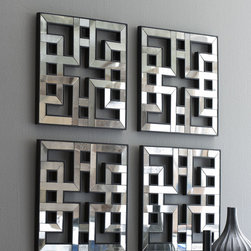 "Horchow - Fretwork Mirrors, Set of 4 - These four fretwork mirrors make a perfect set. The hand-painted wood frames would look great against any wall color, and the fretwork pattern makes them unique. Their large size makes them a ""wow"" piece over a console."