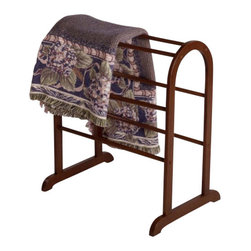Winsome Wood - Quilt Rack, Small - Keep spare linens within reach with our small Quilt Rack that holds 3 quilts or bath towels. It comes with beautiful walnut finish that easily coordinates with existing decor.
