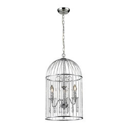 Z-Lite - Z-Lite 885CH Avary 3 Light Chandeliers in Chrome - First class styling and design are achieved with the  gleaming chrome and crystal pendants within the reeded cage of this beautiful crystal chandelier.