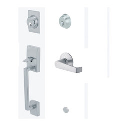 "Schlage - Century Handleset w Elan Interior Lever in Sa - Manufacturer SKU: F62 CEN 626 ELA LH. Handle Type: Handleset. Handleset features a high security deadbolt, keyed on both sides and a decorative lower grip to create a grand entrance for your home. Patented adjustable through-bolt allows easy installation retrofits existing doors. For left handed doors. Lifetime limited mechanical & finish warranty. Coordinate with other elan satin chrome products. Maximum security deadbolt offers superior protection against attacks by crowbar, hammer, wrench, saw, lock pick, and kick-in. Designed for standard door prep (fits existing pre-drilled holes). Universal latch adjusts to fit 2-3/8"" or 2-3/4 in.. Fits 1-3/8"" to 1-3/4"" wood or metal doors. Finish: Satin Chrome. 2.3 in in. L x 3 in in. W x 12.1 in in. H (6.6 lb lbs)"