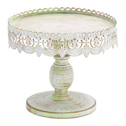 Benzara - Traditional Style decorative Cake Stand - This white iron alloy tray is the perfect backdrop to let your cake stand and steal the show. Bring Victorian era charm to your event that looks like it's seen many wonderful parties. And the sturdy base will keep it balanced no matter how the cake is cut, though it is not likely to last long with this decorative tray drawing all your guests attention.