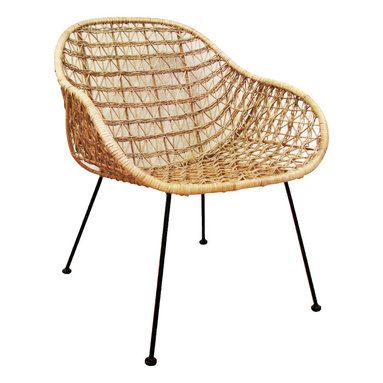 Comet Basket Chair - With a comfortable open weave design and a modern scoop shape, this rattan and steel chair is universally appealing. Cluster several in conversation areas or feature one in an airy reading nook.