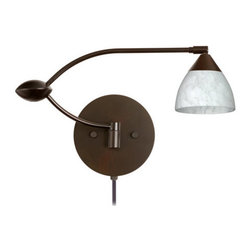 Besa Lighting - Besa Lighting 1WU-185819-CP Divi 1 Light Swing Arm Halogen Wall Sconce - Divi has a classical bell shape that complements aesthetic, while also built for optimal illumination. Our Carrera glass is a classic yet modern decor that gives off a soft white light. Clear molten glass is rolled in alabaster powder like frit, and then blown into shape with a semi-clear frosted white inner finish. This decor is created by rolling molten glass in small bits of white called frit. The smooth satin finish on the clear outer layer is a result of an extensive etching process. This blown glass is handcrafted by a skilled artisan, utilizing century-old techniques passed down from generation to generation. Each piece of this decor has its own artistic nature that can be individually appreciated. The swing arm fixture includes a 12V electronic transformer and integrated full-range rotary dimmer. The adjustable arm assembly allows for 155 degree rotation and pivots at the clamshell-shaped center connection.Features: