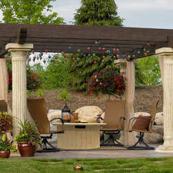 Outdoor GreatRoom - The Tuscany Pergola does much more than bring all your outdoor elements together, it bring families and friends together. The classic column-and-beam arbor is designed for longlasting outdoor use.