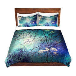 DiaNoche Designs - Duvet Cover Twill - Night Sky - Lightweight and soft brushed twill Duvet Cover sizes Twin, Queen, King.  SHAMS NOT INCLUDED.  This duvet is designed to wash upon arrival for maximum softness.   Each duvet starts by looming the fabric and cutting to the size ordered.  The Image is printed and your Duvet Cover is meticulously sewn together with ties in each corner and a concealed zip closure.  All in the USA!!  Poly top with a Cotton Poly underside.  Dye Sublimation printing permanently adheres the ink to the material for long life and durability. Printed top, cream colored bottom, Machine Washable, Product may vary slightly from image.