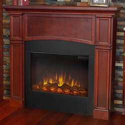 Real Flame - Electric Fireplace in Dark Mahogany Finish - Includes wooden mantel, firebox, screen, remote control and anti topple safety device. Classically detailed. Inset columns. Arched center panel. Plugs into any standard outlet. Realistic and built in look. 1400 watt heater. Rated over 4700 BTUs per hour. Programmable thermostat with display in fahrenheit or celsius. Ultra bright LED technology with five brightness settings. Digital readout display with up to nine hours timed shut off. Dynamic ember effect. UL and ISTA 3A certified. Warranty: Ninety days on mantel and one year on electric firebox. Made from solid wood, veneered MDF and powder coated steel. Assembly required. 46 in. W x 8.7 in. D x 41.22 in. H (78.2 lbs.)Unit must be anchored to a wall using the included hardware. The Bradford mantel is the next generation of electric fireplace.