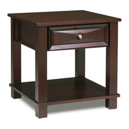 Steve Silver - Mason End Table - The Mason End Table has a dark cherry finish and classic design that merges seamlessly into any living room. The cocktail, sofa, and end table collection give you a complete living room solution.