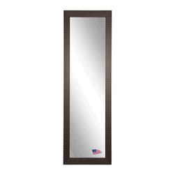 Rayne Mirrors - American Made Espresso Bricks 20 x 59 Slender Body Mirror - Complete any room with this beautifully-textured decorative framed mirror.  Its unique brick design provides an eye-catching accent versatile enough to work with a wide range of decorative themes.  Each Rayne mirror is hand crafted and made to order with American products.  All hardware included for vertical or horizontal hanging, or perfect to lean against a wall.