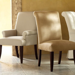 PB Comfort Upholstered Chair - These softly upholstered chairs are a great choice when extra seating is needed at the table. Because they are so pretty, I'd be tempted to use them all over the house.