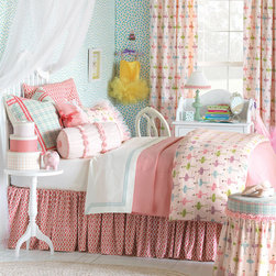 """Eastern Accents - Matilda Childrens Bedset - Indulge your child in a good night's rest with bedding that feels as good as it looks. The luxurious Matilda bedset is complete with everything needed to create an a ballet-inspired bedroom in a frilly, girly design of light pinks, purples and apple greens. This unique set is defined by lush layers of texture in its fine fabrics and details. Coordinated bedset includes a coverlet, bedskirt, 1 or 2 euro pillow shams, 1 or 2 standard or king pillow shams and bolster pillow (see bedset details for specifications). Set is available in twin, full, queen, super queen, king, super king and California king. Complete this look with the optional Matilda duvet cover, the Pirouette Pink decorative pillow and the Matilda curtain panels. Ballet Blush reversible coverlet has a subtle diamond quilt and radius corners at both sides. Bedskirt features 16"""" drop; choose a custom drop length of up to 30"""" for an additional cost. Bravo Pixie euro sham reverses to Alder Natural fabric, features decorative ribbon accents and has a zipper closure. Polyester fiber pillow insert included. Matilda standard and king shams are finished with ruffles and ribbons and have a zipper closure. Polyester fiber pillow inserts included. Tulle Ruched tubular bolster pillow is finished with dark pink rosettes and a zipper closure. Polyester fiber pillow insert included. Optional Matilda duvet cover features Pirouette Pink fabric on reverse, button closures and ties in all corners for easy comforter attachment. Insert not included. Optional Pirouette Pink Tufted decorative pillow measures 27"""" Square. Pillow features self piping, reverses to Ballet Blush fabric and has zipper closure. Polyester fiber pillow insert included. Optional Matilda curtain panels available in 3 sizes: 48""""W x 84""""L, 48""""W x 96""""L or 48""""W x 108""""L. Panels feature 100% cotton lining and 100% cotton flannel interlining. Choose 95% light exclusion blackout lining available by custom order. Rod pocke"""