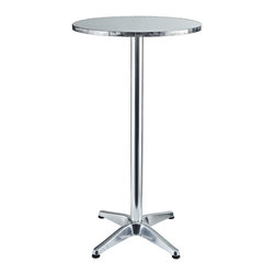 Modway Furniture - Modway Elevate Aluminum Bar Table in Silver - Aluminum Bar Table in Silver belongs to Elevate Collection by Modway Imbue your Indoor/Outdoor gatherings with an uplifting instrument of service. Invoke overflowing plenitude with a work that collects the best of your surroundings and presents it for all to see. Thrive together and extract something precious as the Elevate Modern Round Aluminum Bar Table continually exceeds expectations. Set Includes: One - Elevate Modern Round Aluminum Outdoor Bar Table Bar Table (1)