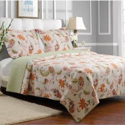 Greenland Home Fashions Barcelona Quilt Set - A blowing pattern of blossoms and leaves gives the Greenland Home Fashions Barcelona Quilt Set the light, summery feeling you get from a stroll down Barcelona's Las Ramblas. This carefree pattern is printed on a quilt and matching shams, each made with a high-quality, 100% cotton face, back, and fill. Machine-stitched quilting adds durability and a charming texture, while the oversized shape of the comforter gives you full coverage on today's deeper mattresses. This set is offered in several sizes and is machine washable.Product Dimensions:Twin comforter: 88L x 68W in. Full/queen comforter: 90L x 90W in.King comforter: 95L x 105W in.Small sham: 20L x 26W in.Large sham: 20L x 36W in.About Greenland Home FashionsFor the past 16 years, Greenland Home Fashions has been perfecting its own approach to textile fashions. Through constant developments and updates - in traditional, country, and more modern styles – the company has become a leading supplier and designer of decorative bedding to retailers nationwide. If you're looking for high-quality bedding that not only looks great but is crafted to last, consider Greenland.
