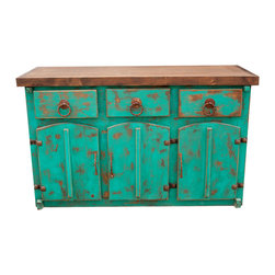 Rustic Turquoise Vanity, 60x20x32 - A gorgeous rustic turquoise vanity! A vibrant and unique vanity that has rounded doors and hand made metal hardware. The unique hinges add to the rustic charm this piece has. This piece is crafted by hand and finished with a hand rubbed paste wax.