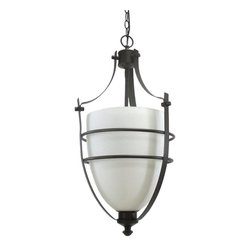 Epiphany - Oil Rubbed Bronze And White Opal Glass Chandelier/Pendant - Width: 15.5""
