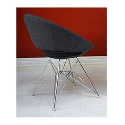 """sohoConcept - Crescent Tower Chair w Metal Legs (Beige Wool - Fabric: Beige Wool FabricA unique dining chair with a comfortable upholstered seat on a steel frame. Metal legs available with black powder, natural as well as stainless steel finishes. Each leg is tipped with a plastic glides. Seat has a steel structure with """"S"""" shape springs for extra flexibility and strength. Steel frame molded by injecting polyurethane foam. Seat is upholstered with a removable zipper enclosed leather, leatherette or wool fabric slip cover. This chair with metal legs is especially made for commercial applications. Pictured in Dark Grey finish. 22.5 in. W x 24 in. D x 29 in. H, Seat Height: 17 in."""